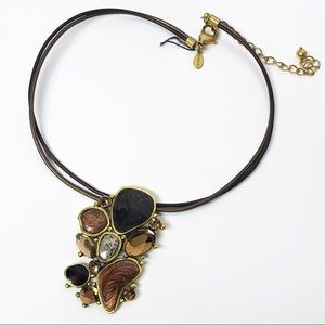 Chico's Neutral Mixed Media Cluster Necklace
